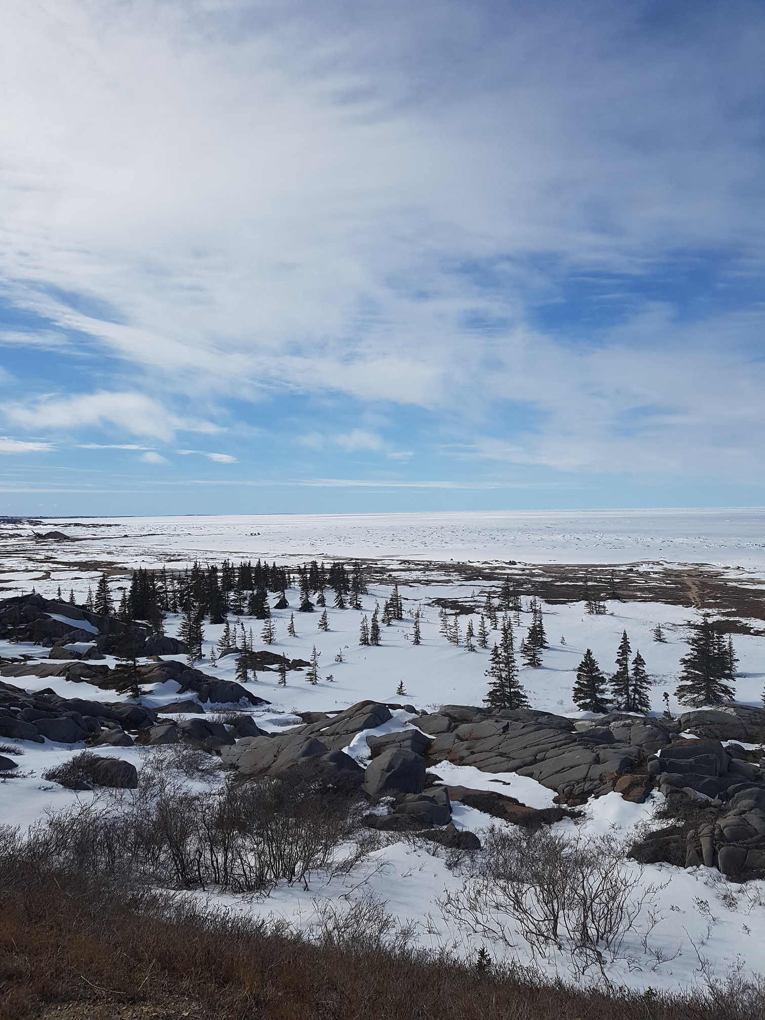 A frozen Hudson bay in spring time